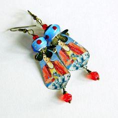 Bohemian lampwork earrings Tin earrings Boho lampwork dangles Boho Hippie Gypsy glass beads earrings BoHo Chic Blue Red earrings Handmade (29.00 USD) by MarianneMerceria