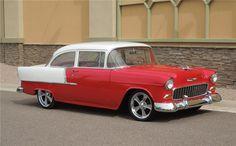 1955 chevrolet red and white   1955 CHEVROLET 210 CUSTOM 2 DOOR SEDAN - Barrett-Jackson Auction ...