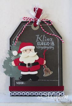 Card by DT member Marleen with Collectables Eline's Santa and Creatables Pinetree Set (LR0370) by Marianne Design