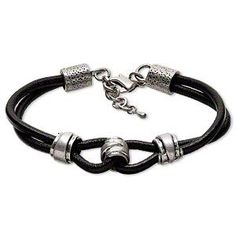 Bracelet, double-strand, leather and pewter (tin-based alloy), black, 13x10mm rondelle, 8-1/2 inches with steel lobster claw clasp and 1-inch extender chain. Sold individually.