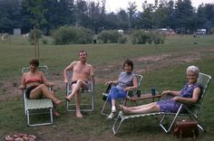 """pic 28.   Derek and Hannelies had a trailer at a place they called The Farm(because it used to be one). outside of Hamburg, ON.  From L to R, Hannelies, Frank and Isabel Grice(Derek's ex-wife's sister and her hubby) and Derek's Mother, """"Mother"""".  Date: Summer of 1970."""