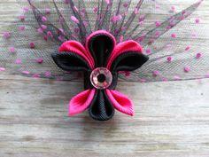 Fleur De Lis Hair Clip in Pink and Black
