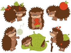 BUY 1 GET 2 FREE - Hedgehogs Clipart - Digital Vector Woodland, Berry, Forest…