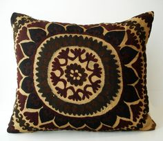 Sukan / Vintage Hand Embroidered Suzani Pillow Cover - 18x20 $119.95