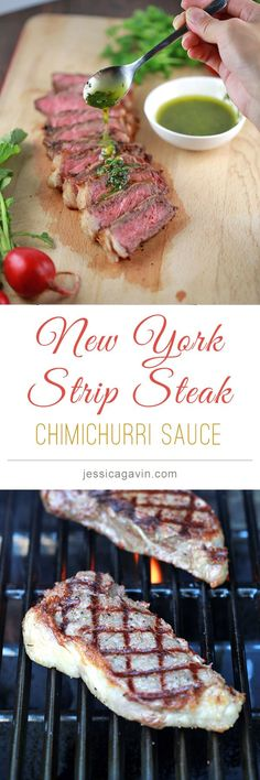 Get your grill out! Cook up a delicious NY Strip Steak with chimichurri sauce | jessicagavin.com