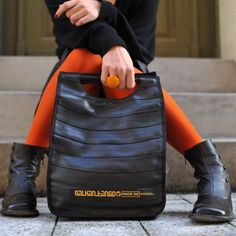 recycled bicycle inner tube tote