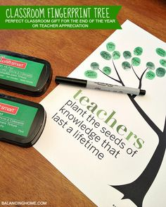 Keeping up with the Kiddos: Last Day of School Gift - Teacher Fingerprint Tree
