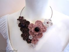 Items similar to MADE TO ORDER - Crochet necklace,crochet flower necklace,pale pink, bunch of flowers necklace,romantic necklace on Etsy Knitted Necklace, Diy Necklace, Flower Necklace, Collar Necklace, Bunch Of Flowers, Diy Flowers, Crochet Flowers, Crochet Collar, Egyptian Jewelry