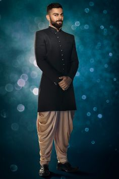 Buy Solemn Blue Indo Western - Contemporary wear from the house of Manyavar. Choose from a wide range of designer Indo western, Sherwani, traditional dresses for men online. Mens Indian Wear, Mens Ethnic Wear, Indian Groom Wear, Indian Men Fashion, Men's Fashion, Fashion Outfits, Wedding Kurta For Men, Wedding Dresses Men Indian, Wedding Dress Men