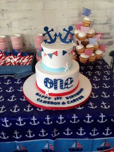 Twins first birthday cake; first birthday party; sailor theme; nautical theme; anchor