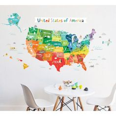 Wall point art decor mural sticker the world map trip quick and the lovely wall company bright usa map wall decal gumiabroncs Gallery