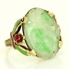 Art Deco 14 Karat Yellow Gold Carved Jade Cocktail Enamel Flower Ring