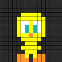 Warner Bros, Merrie Melodies, Looney Tunes, Mini Tweety Bird, Piolín, Perler Bead, Hama Beads pattern