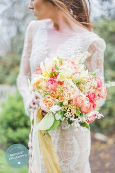 Wedding Bouquet Breakdown! See all the elements in this gorg bouquet on SMP here: http://www.stylemepretty.com/2015/05/24/bouquet-breakdown-pink-coral-springtime-medley/ | Photography: SallyPinera.com