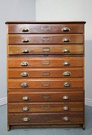 1930s Oak Plan Chest by Vickers Armstrong, London