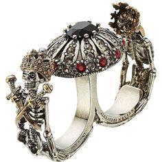 Alexander McQueen Embellished Double Skull Ring