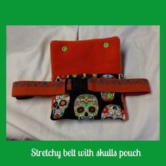 Skulls w/flowers soft insulin pump pouch with by Pattyspumppouches, $20.00