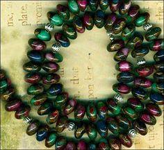 "Mosaic Agate Rondell Beads 8mm 16"" Strand GOLDDUST Blue Purple Green Pretty | eBay"