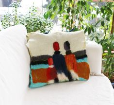 Ecological Pillow Case Avantgarde Malevich Felt Wool Decor Suprematism Felt Unique Gift Hygge Home Decor One-of-a-kind Handcrafted In Norway - Ecological Pillow Case Avantgarde Malevich Felt Wool Decor Suprematism Felt Unique Gift Hygge Home - Pine Oil, Avantgarde, Green Soap, Hygge Home, Wool Felt, Fiber Art, Norway, Pillow Cases, Unique Gifts