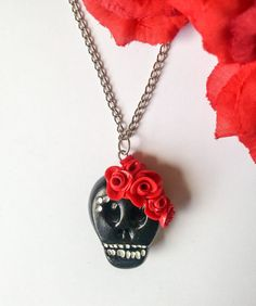 Handmade Sugar Skull necklace Polymer Clay Black and by DeadMamas Skull Necklace, Pendant Necklace, Handmade Polymer Clay, Sugar Skull, Red Color, Trending Outfits, Unique Jewelry, Handmade Gifts, Etsy