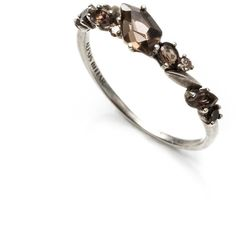 Light Oxidized Sterling Silver marquis add edge to elegant clusters of custom cut Light Smoky Quartz, Medium Smoky Quartz, and Brown Diamond on this band ring …