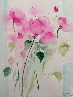 "Aquarell , "" Wiesenblumen  "" Blumen , 30 x 40 cm , Unikat in Antiquitäten & Kunst, Malerei, Aquarelle | eBay!"