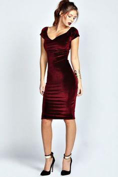 Boohoo Vivian Velvet Midi Bodycon Dress on shopstyle.co.uk