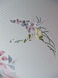 A flower filled Crane design inspired by a design by Totsuka, Japan