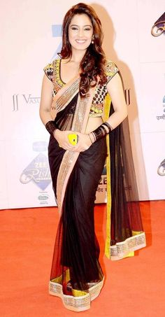 Srashti Rode in black #saree #sari #blouse #indian #outfit #shaadi #bridal #fashion #style #desi #designer #wedding #gorgeous #beautiful: