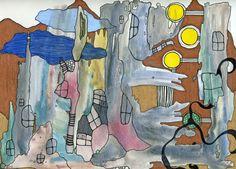 City of Three Suns (Mixed Media Original)