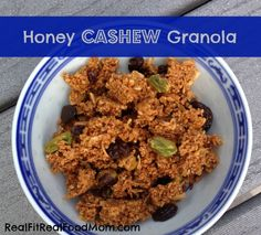 Honey Cashew Granola (made with leftover pulp from making cashew milk) - could also use almonds! | Real Fit, Real Food Mom