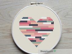 geometric modern cross stitch pattern heart, stripes, PDF pattern ** instant…