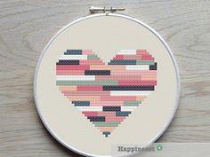 geometric modern cross stitch pattern heart stripes by Happinesst