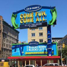 @oldnavy crazy billboard! Assuming #interactive with tweets? East Village. #advertising #marketing