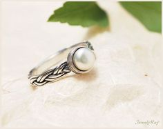 bridal pearl ring. silver bridal ring. wedding by JewelyRay, $57.00 Perhaps blue opal instead