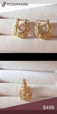 14K Diamond Etched Filigree Earrings KC Designs A pair of 14k solid gold filigree diamond cut puff hoop earrings. 20mm long 6mm wide. A heavy weight sturdy labor intense hand made delicate filigree design made to last generations. KC Designs Jewelry Earrings