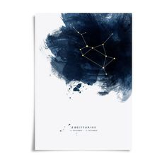 Constellations Personalised Zodiac Starsign Print. A beautiful graphic constellations zodiac print to show off your starsign in style.