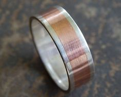 Rustic Silver & Copper Wedding Band: sterling // one of a kind artisan design // silver ring // handcrafted in half sizes for a custom fit.