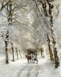 quenalbertini: A Horse and Carriage on a Snowy Lane, Louis Apol, Dutch 1850 - 1936 Winter Landscape, Landscape Art, Landscape Paintings, Winter Painting, Winter Art, Intermediate Colors, Illustration Art, Illustrations, Winter Scenery