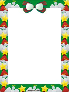 This free, printable Christmas border is decorated with bows, stars and angels. Free to download and print.