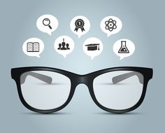 Vector illustration of Glasses with education icons