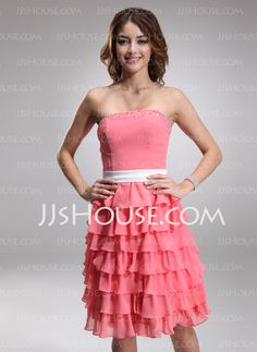 To PERFECT For My Rustic Country Wedding theme!!! YAY!   Bridesmaid Dresses - $128.99 - A-Line/Princess Strapless Knee-Length Chiffon Charmeuse Bridesmaid Dress With Sash Beading (007000922) http://jjshouse.com/A-Line-Princess-Strapless-Knee-Length-Chiffon-Charmeuse-Bridesmaid-Dress-With-Sash-Beading-007000922-g922