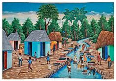 Vintage Haitian Painting Topless Woman Bathing Washing In River Fredo Haiti Huge