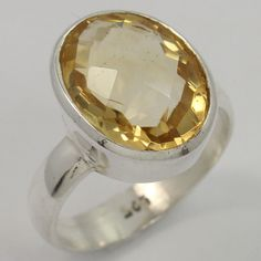 925 Sterling Silver Stunning Ring Size US 7.5 Real CITRINE Oval Checker Gemstone #Unbranded