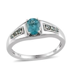 Madagascar Paraiba Apatite (Ovl 1.10 Ct) Men's Ring in Platinum Overlay Sterling Silver Nickel Free (Size 9) TGW 1.50 Cts.