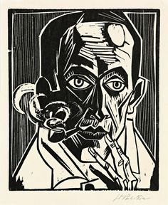 """amare-habeo: """" Hermann Max Pechstein (German, 1881 – 1955) - Self-Portrait with a Pipe (Selbstbildnis mit Pfeife), 1921 Woodcut on wove paper """""""