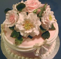 """Old Blush"" roses wedding cake 1 by rosey sugar, via Flickr"