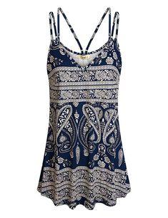 71eebaf4db1 Amazon.com  Cyanstyle Women s Flowy V Neck Double Spaghetti Strap Tank Tops  Camisole Shirts