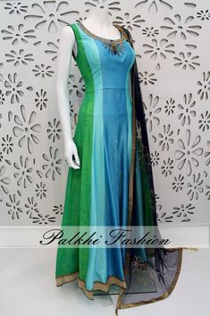 PalkhiFashion Exclusive Full Flair Green/Blue Colored Linen Silk Outfit with Pencil Pant