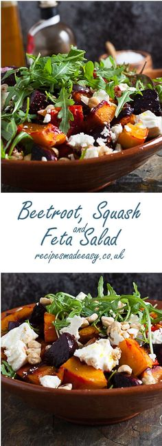 The earthy flavour of beetroot, the sweetness of butternut squash and the salti. The earthy flavour of beetroot, the sweetness of butternut squash and the saltiness of feta make a delicious combination in this Beetroot, Squash and Feta Salad. Pasta Recipes, Cooking Recipes, Cooking Corn, Cooking Fish, Feta Salat, Beetroot Feta Salad, Beetroot Recipes Salad, Lunch Salad Recipes, Chickpea Salad